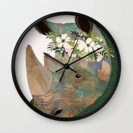 Rhino with flowers on head Wall Clock