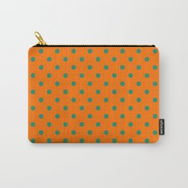 Large Elf Green on Orange Polka Dots Carry-All Pouch