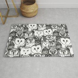 just owls black white Rug