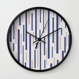 Interrupted Lines Mid-Century Modern Minimalist Pattern in Blue, Purple on a Pale Gray Background Wall Clock
