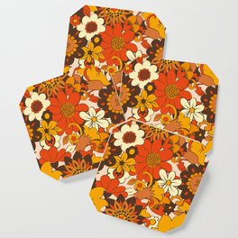 Retro 70s Flower Power, Floral, Orange Brown Yellow Psychedelic Pattern Coaster