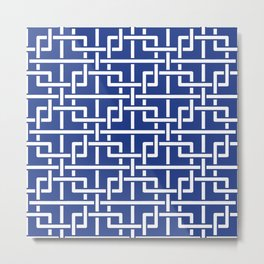 Tangled squares Chinoiserie in blue & white Metal Print