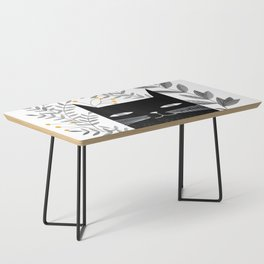 black cat with botanical illustration Coffee Table