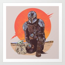 """The Mandalorian and The Child"" by Hillary White Art Print"