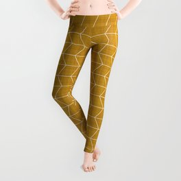 Geometric Diamond Pattern Mustard Leggings