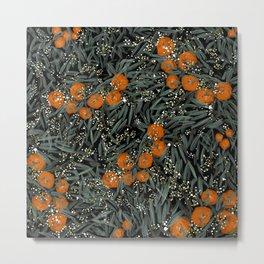 Oranges and white berries pattern Metal Print
