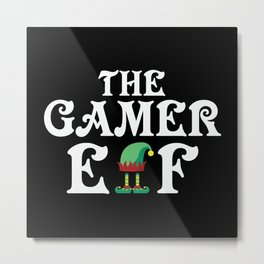 The Gamer Elf Christmas Metal Print