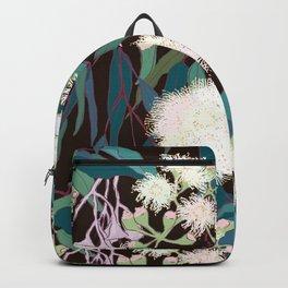 Australian Gumnut Eucalyptus Floral in White + Expresso Backpack