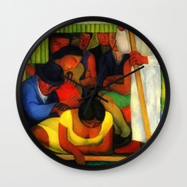 The Flowered Canoe by Diego Rivera Wall Clock