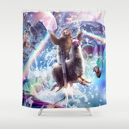 Rainbow Laser Sloth On Llama Unicorn In Space Shower Curtain