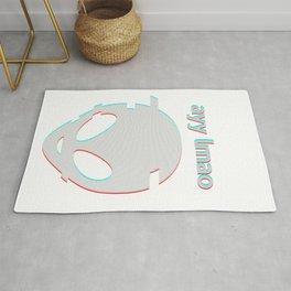 Vaporwave Ayy Lmao Meme Glitch art design Style Alien face graphic Rug