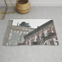 New York City corners, fire escapes, ladders fine art , nyc, America, photo Rug