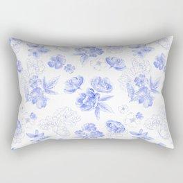 Blue Flowers Pattern Rectangular Pillow