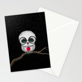 Baby Owl with Glasses and Japanese Flag Stationery Cards