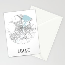Belfast City Map of Northern Ireland - Circle Stationery Cards