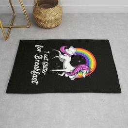 Magical Unicorn I Eat Glitter For Breakfast Rainbow Rug