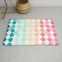 Rainbow muted clam quilt colorful pattern waves perfect kids room decor Rug