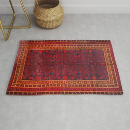 China Khotan 19th Century Authentic Colorful Red Blue Yellow Vintage Patterns Rug