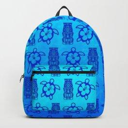 Blue Honu And Tiki Mask Backpack