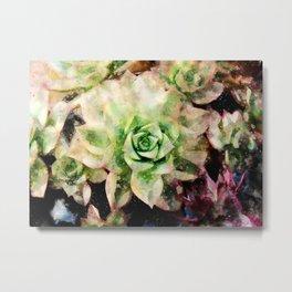 Colorful Succulent Watercolor Metal Print