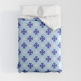 geometric flower 94 blue and white Comforters