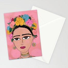 Frida Illustration - Frida Kahlo, Portrait, Floral Illustration Stationery Cards