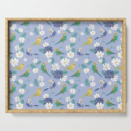 Budgies Pattern on Blue Serving Tray