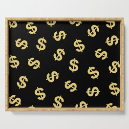 Dollar Signs Black & Gold Serving Tray