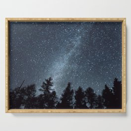 Milky Way in the Woods | Nature and Landscape Photography Serving Tray