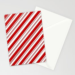 winter holiday xmas red white striped peppermint candy cane Stationery Cards