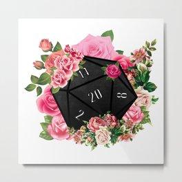 Floral Rose D20 Dice Metal Print