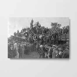 1896 Train Wreck, Buckeye Park in Lancaster, Ohio black and white photography / photograph Metal Print