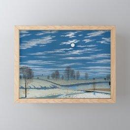 Henry Farrer - Winter Scene In Moonlight. Framed Mini Art Print