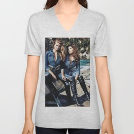 Double Denim Unisex V-Neck