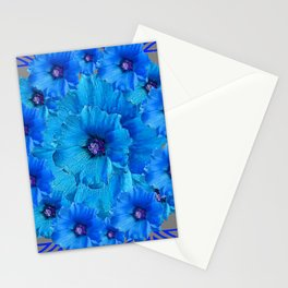 CERALIAN BLUE HOLLYHOCKS ART DECO ABSTRACT Stationery Cards