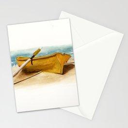Shore Time, rowboat, boat, seashore, beach Stationery Cards