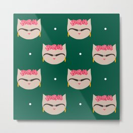 Frida the Cat - repeat pattern Green Background Metal Print