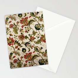 Red Green Jacobean Floral Embroidery Pattern Stationery Cards