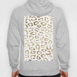 Modern white chic faux gold foil leopard print Hoody