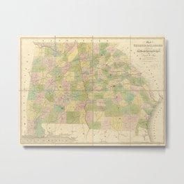 Map of Georgia and Alabama (1839) Metal Print