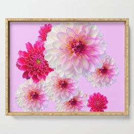 FUCHSIA CERISE-WHITE DAHLIA FLOWERS GARDEN ART Serving Tray