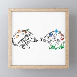 Hedgehogs Meeting Framed Mini Art Print