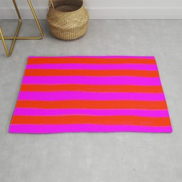 Sweet Stripes in Pink and Red Line Art #decor #society6 #buyart Rug