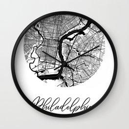 Philadelphia Area City Map, Philadelphia Circle City Maps Print, Philadelphia Black Water City Maps Wall Clock