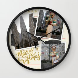 Merry Christmas from the Rockefeller Plaza in NYC Wall Clock