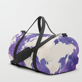 Purple watercolor and light brown world map with outilined countries Duffle Bag