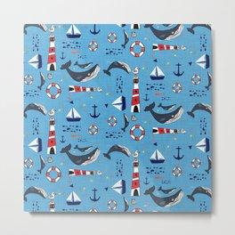 Ocean Blue Whale Blue Metal Print