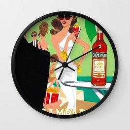 1970 Campari Vintage Cordial Italian Riviera Amalfi Coast Aperitif Advertisement Poster Wall Clock