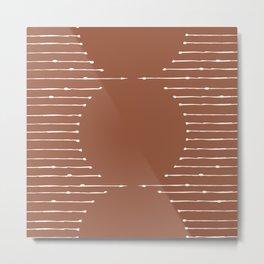 Geometric Lines / Terracotta Metal Print