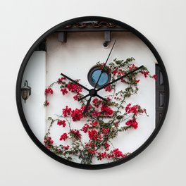 Floral Climbers   Front Door Red Flowers Street Photography in California Wall Clock
